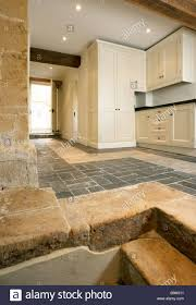Brick Flooring Kitchen New Utility Room Kitchen In Cotswold Farmhouse With Stone Steps