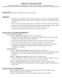 Resume For Medical