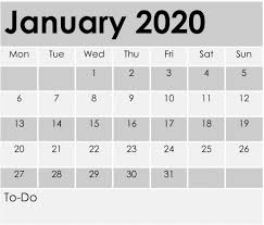 January 2020 Calendar Template Printable Pages Free Latest