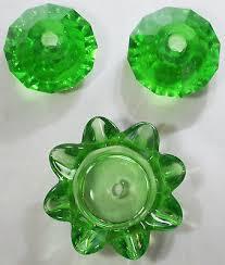 vintage antique emerald green crystal faceted diamond chandelier glass prism