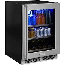 ft beverage center with stainless frame glass door and integrated right hinge with display wine rack mp24bcg4rs perschoice com