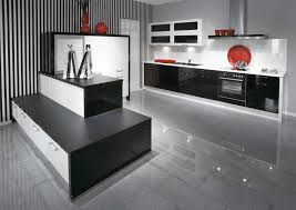 Black High Gloss Kitchen Doors Using High Gloss Tiles For Kitchen Is Good Interior Design