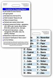 The nato phonetic alphabet* is the most widely used worldwide but we've also included some earlier british and american phonetic alphabets. Amazon Com Hospital Report Guidelines W Phonetic Alphabet Vertical Badge Card 1 Card Health Personal Care