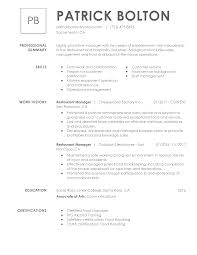 Management Restaurant Manager Template Pdf Free Resume Examples