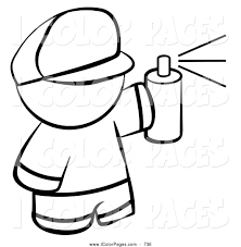 Vector Coloring Page Of A Black And White Human Factor Boy Spray