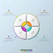 Paper White Circular Pie Chart Divided Into 4 Equal Sectors With