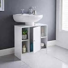 white under sink storage unit with 2