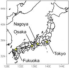 sitemap of 4 anese megacities tokyo nagoya osaka and uoka used