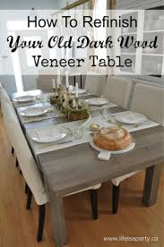 how to refinish your old dark wood veneer table how to strip your old table and re stain and seal it to make it better than new