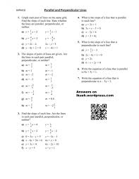 math parallel and perpendicular lines worksheet lesson parallel