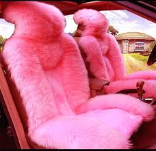 fluffy seat covers car seat cover plush fur steering wheel brake gear knob cover pink set