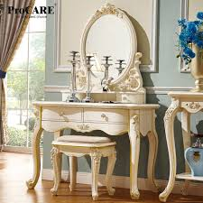 luxury european and american style bedroom furniture ivory white french dressing table with chair