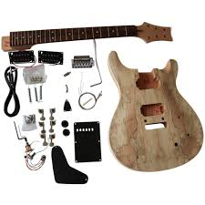details about diy guitar kit mahogany arch spalted maple veneer extra strings gdpr830