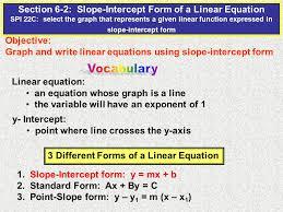 section 6 2 slope intercept form of a linear equation spi 22c