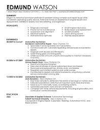 Mechanic Resume Example 0 Automotive Technician Sample