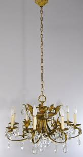 neoclassic 8 arm crystal and bronze chandelier 191900328848
