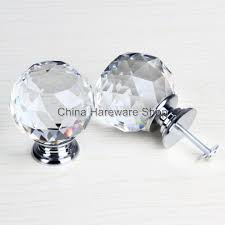 50MM Clear Crystal Glass Door Knob Kitchen Cabinet Handles Screw 8pcs lot