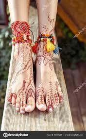 хна татуировки ногах красивая индийская мехенди украшения окрашены