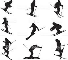 silhouette of different skiing skills and movements stock vector silhouette of different skiing skills and movements royalty stock vector art