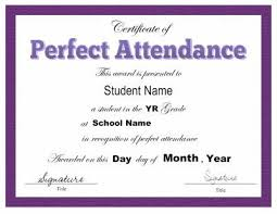 Award Certificate Template For Perfect Attendance At School Free