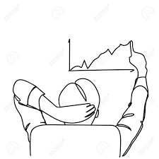 Back View Of Business Man Sitting In Office Chair Drawing Chart