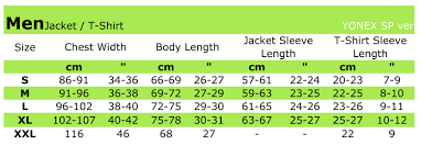Yonex Size Guide