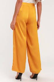 Sleek Stride Golden Yellow Satin Wide Leg Pants