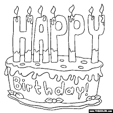 Happy Birthday Cake birthday online coloring pages page 1 on birthday coloring card