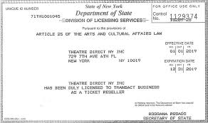 Broadway Inc Direct Theatre License com Ticket Ny Resell