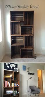 living room decorating ideas images. 11. Make Your Own Stacked Crate Bookshelf Living Room Decorating Ideas Images