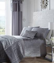 velvet bedding king. Luxury Crushed Velvet Panel Bedding Set Boulevard Silver Grey To King EBay