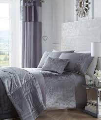 luxury crushed velvet panel bedding set boulevard silver grey