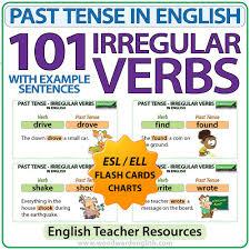 101 Irregular Verbs Past Tense In English Flash Cards Charts