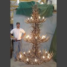 peak three tier mule deer antler chandelier 27 light