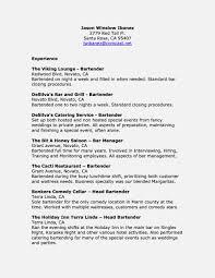 Resume Job Description Bartender Oneswordnet