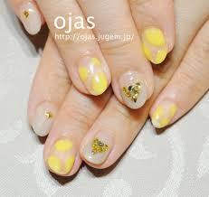 黄色とベージュの抜群の組み合わせ 深爪噛み爪二枚爪の改善は京都
