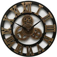 large wooden wall clock vintage gear