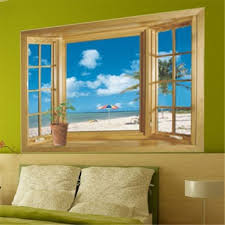 Small Picture Amazoncom 3D Beach Window View Removable Wall Stickers Vinyl