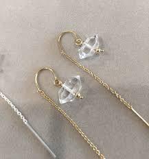 Herkimer Diamond 14k Gold fill Threader Earrings Herkimer   Etsy   Herkimer  diamond earrings, Herkimer diamond, Threader earrings