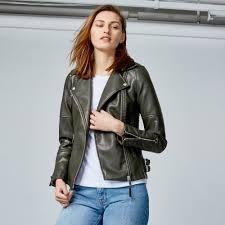 warehouse faux leather biker jacket khaki 1