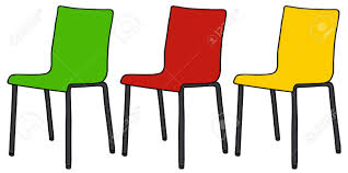 Hand Drawing Of Three Color Simple Chairs Royalty Free Cliparts