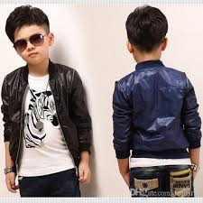 fashion boys faux leather jackets coat kids spring and autumn