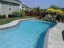 ... Magnificent Swimming Pool Design With Custom Pool Coping : Fascinating  Backyard Pool Landscaping Decoration Using Grey ...