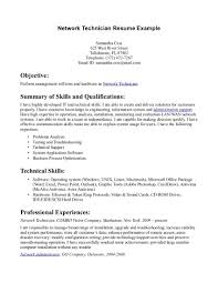 Awesome Network Technician Skills Resume Resume Ideas