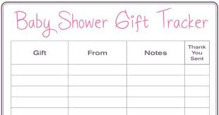 Gift Tracker Baby Shower Gift Tracker Its Free