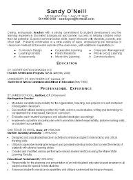 Teacher Resume Samples For New Teachers