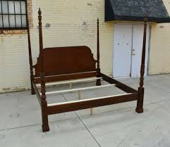 Maitland-Smith King Size Chinese Chippendale Mahogany Rice Carved Poster Bed