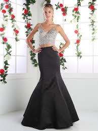 Long Designer Prom Dress With A Trumpet Skirt Two Piece V Neck Prom Evening Dress With Trumpet Skirt
