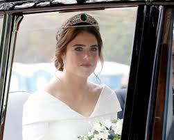 windsor england october 12 the bride princess eugenie of york arrives in her car for her royal wedding to mr jack brooksbank at st george s chapel on