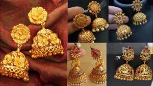 South Indian Traditional Gold Earrings Designs New Gold Jhumka Design Jhumki For Wedding South Indian Gold Earrings Pattern Ideas